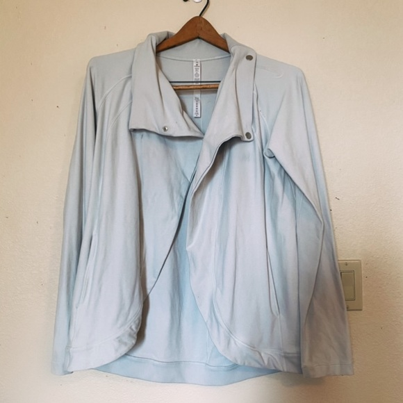 lululemon athletica Jackets & Blazers - Lululemon Light Gray Blue Wrap Jacket 10